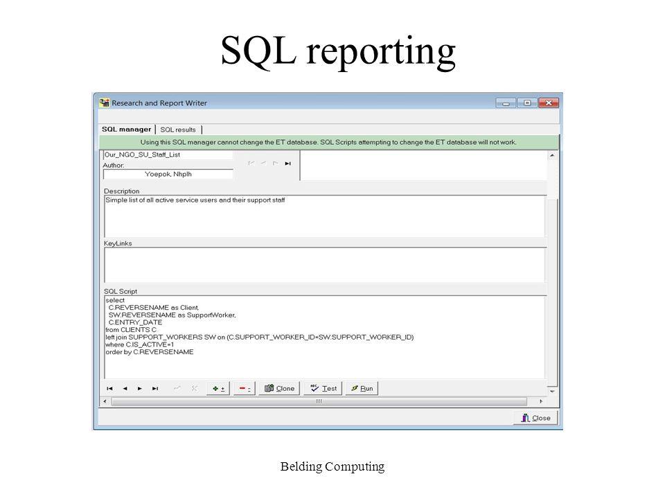 SQL reporting Belding Computing
