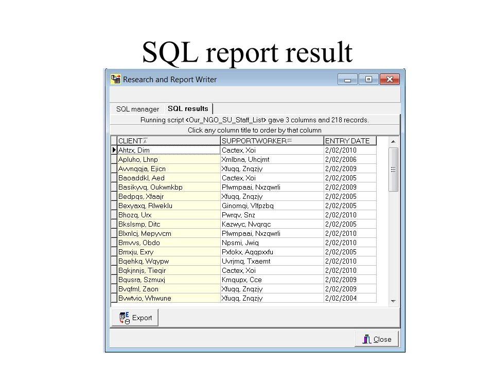 SQL report result Belding Computing