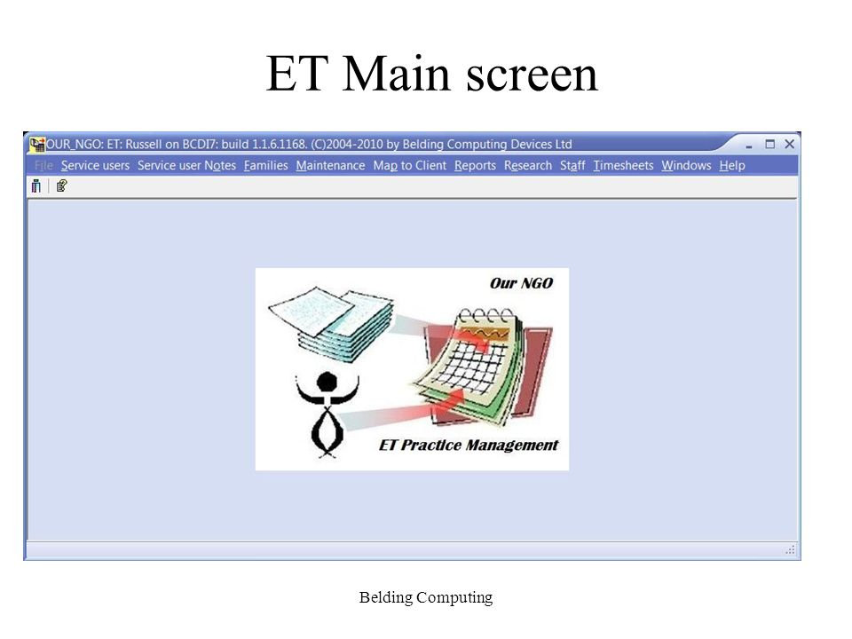 ET – Core Services Service users – New, Edit, Discharge, Reactivate, Notes, Reports, Assessments, Plans, History Staff – New, Edit, History, Reactivate, Audits, Reports Reporting – to PRIMHD & to other specifications; formal (to paper, screen & PDF) and informal (sql scripts to many formats) Client-Server – uses your network Remote connections – uses Microsoft terminal services Timesheets – Staff + Service user contact recording