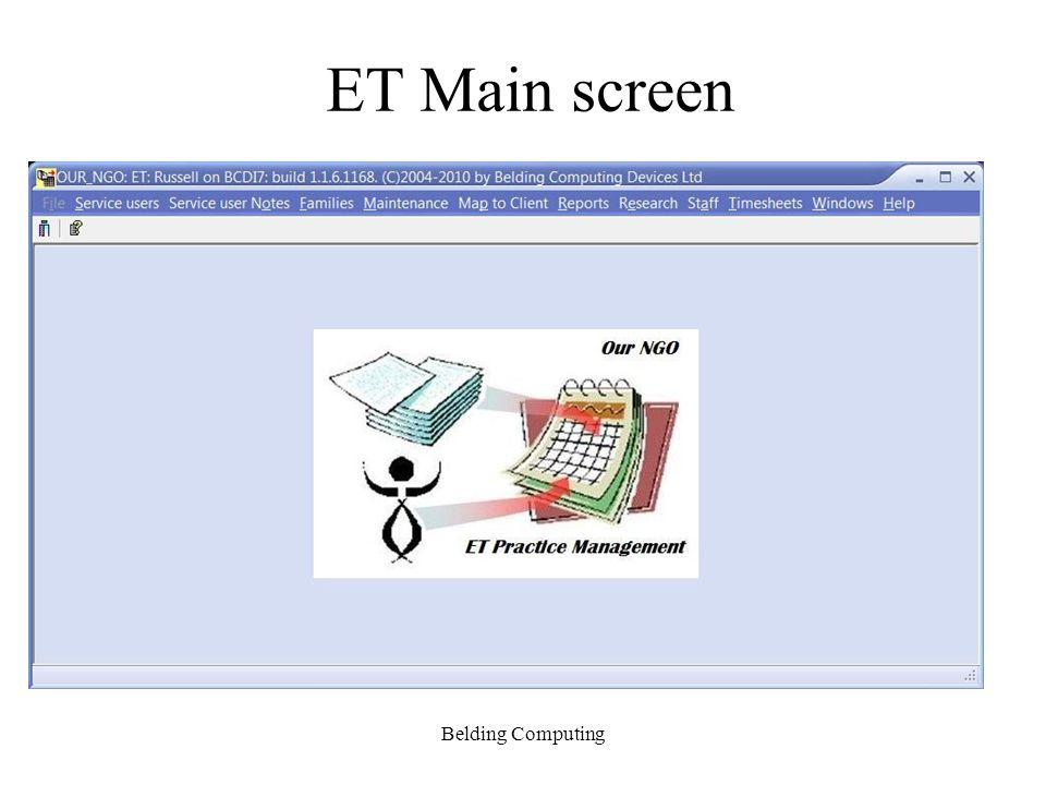 ET Main screen Belding Computing