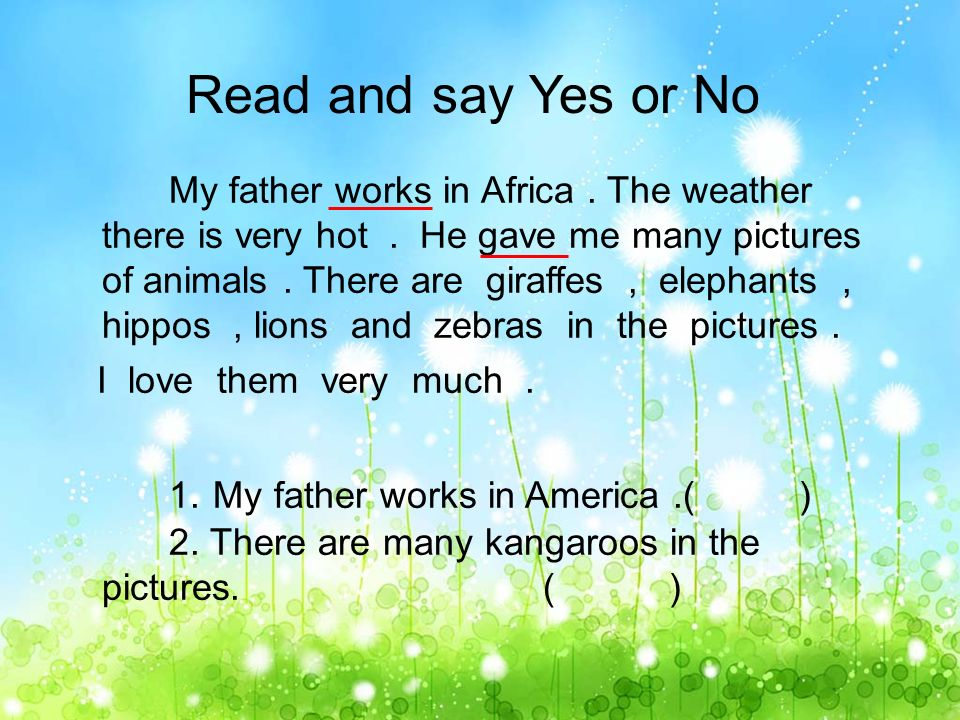 Read and answer I like to go to the zoo.