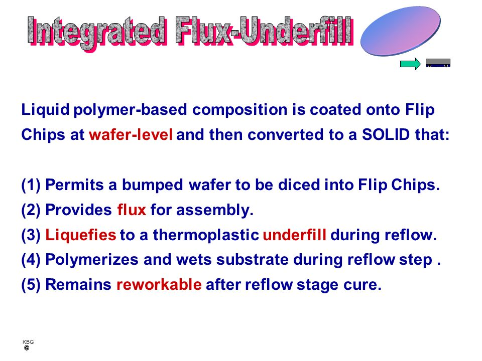 KBG Wafer-level applied Self-fluxing Dry solid Integral to Flip Chip True SMT process Transparent to assembler Can be reworkable Pre-Dispense Solid on