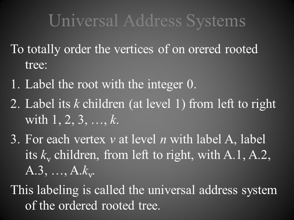 Universal Address Systems To totally order the vertices of on orered rooted tree: 1.Label the root with the integer 0. 2.Label its k children (at leve
