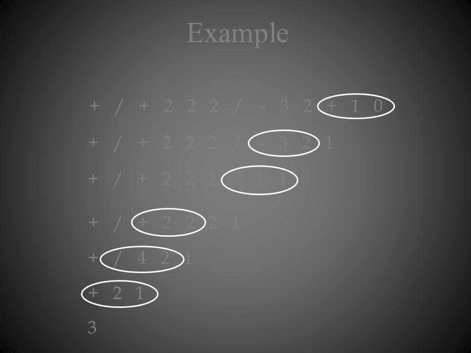 Example + / + 2 2 2 / – 3 2 + 1 0 + / + 2 2 2 / – 3 2 1 + / + 2 2 2 / 1 1 + / + 2 2 2 1 + / 4 2 1 + 2 1 3