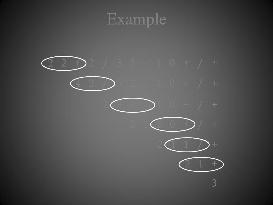Example 3 2 2 + 2 / 3 2 – 1 0 + / + 4 2 / 3 2 – 1 0 + / + 2 3 2 – 1 0 + / + 2 1 1 0 + / + 2 1 1 / + 2 1 +