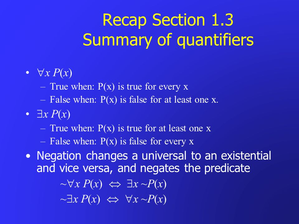 Recap Section 1.3 Summary of quantifiers x P(x) –True when: P(x) is true for every x –False when: P(x) is false for at least one x. x P(x) –True when: