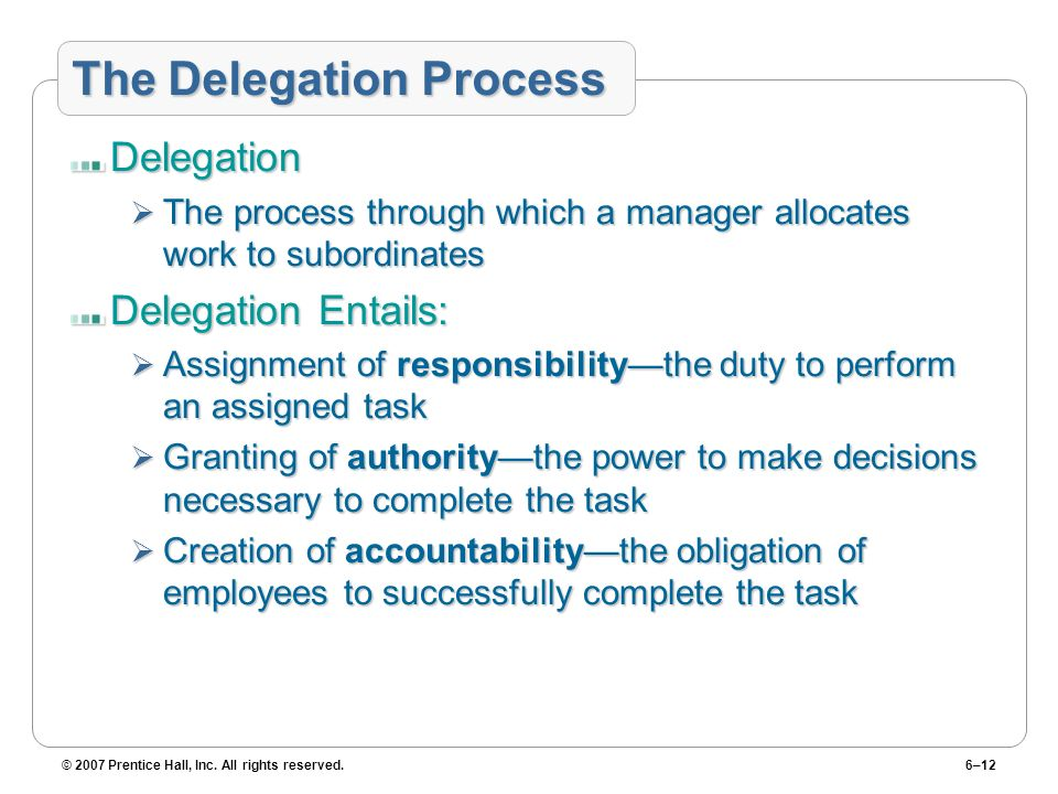 © 2007 Prentice Hall, Inc. All rights reserved.6–12 The Delegation Process Delegation The process through which a manager allocates work to subordinat