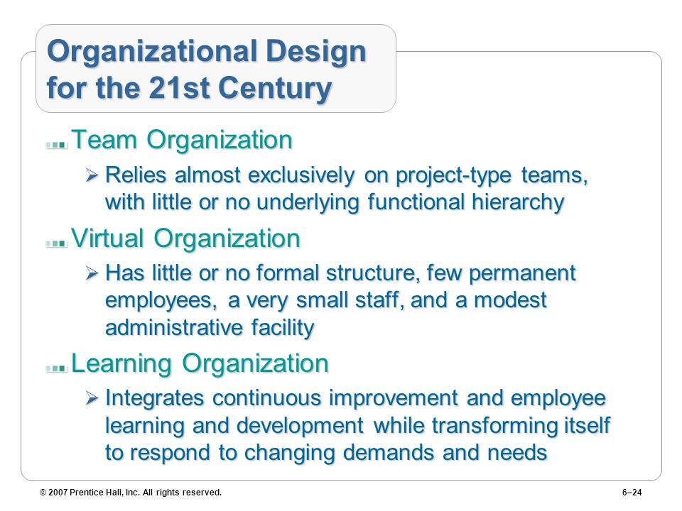 © 2007 Prentice Hall, Inc. All rights reserved.6–24 Organizational Design for the 21st Century Team Organization Relies almost exclusively on project-