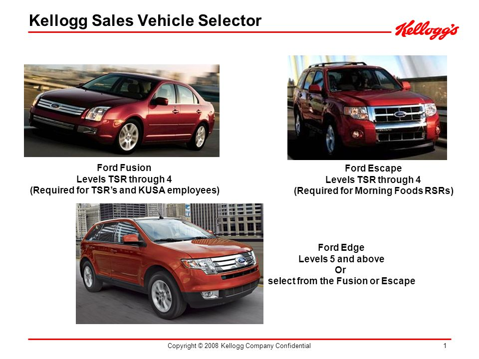 Copyright © 2008 Kellogg Company Confidential 1 Ford Fusion Levels TSR through 4 (Required for TSRs and KUSA employees) Ford Escape Levels TSR through 4 (Required for Morning Foods RSRs) Ford Edge Levels 5 and above Or select from the Fusion or Escape Kellogg Sales Vehicle Selector