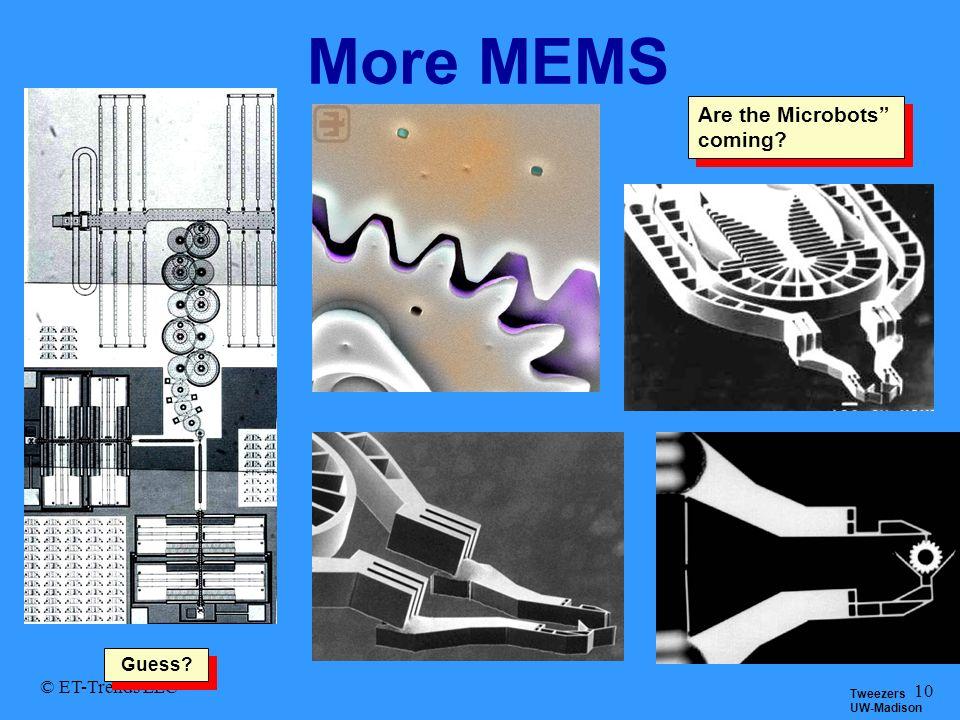 © ET-Trends LLC 10 More MEMS Tweezers UW-Madison Are the Microbots coming? Guess?