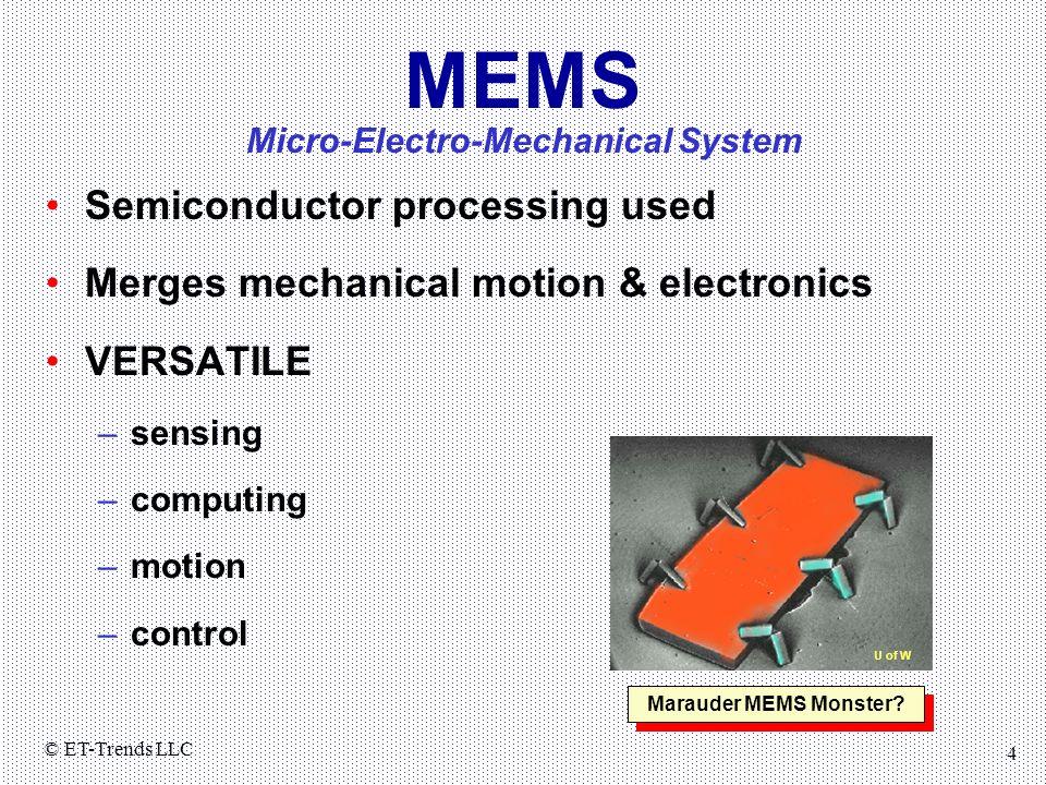 © ET-Trends LLC 4 MEMS Semiconductor processing used Merges mechanical motion & electronics VERSATILE –sensing –computing –motion –control Marauder ME