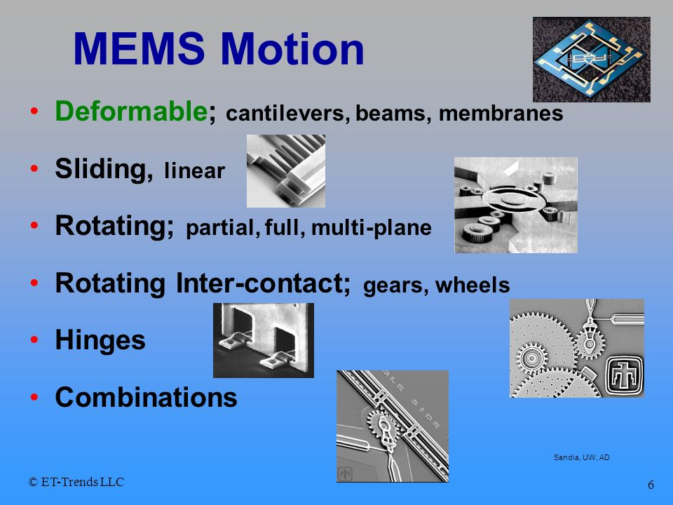 © ET-Trends LLC 6 MEMS Motion Deformable; cantilevers, beams, membranes Sliding, linear Rotating; partial, full, multi-plane Rotating Inter-contact; g