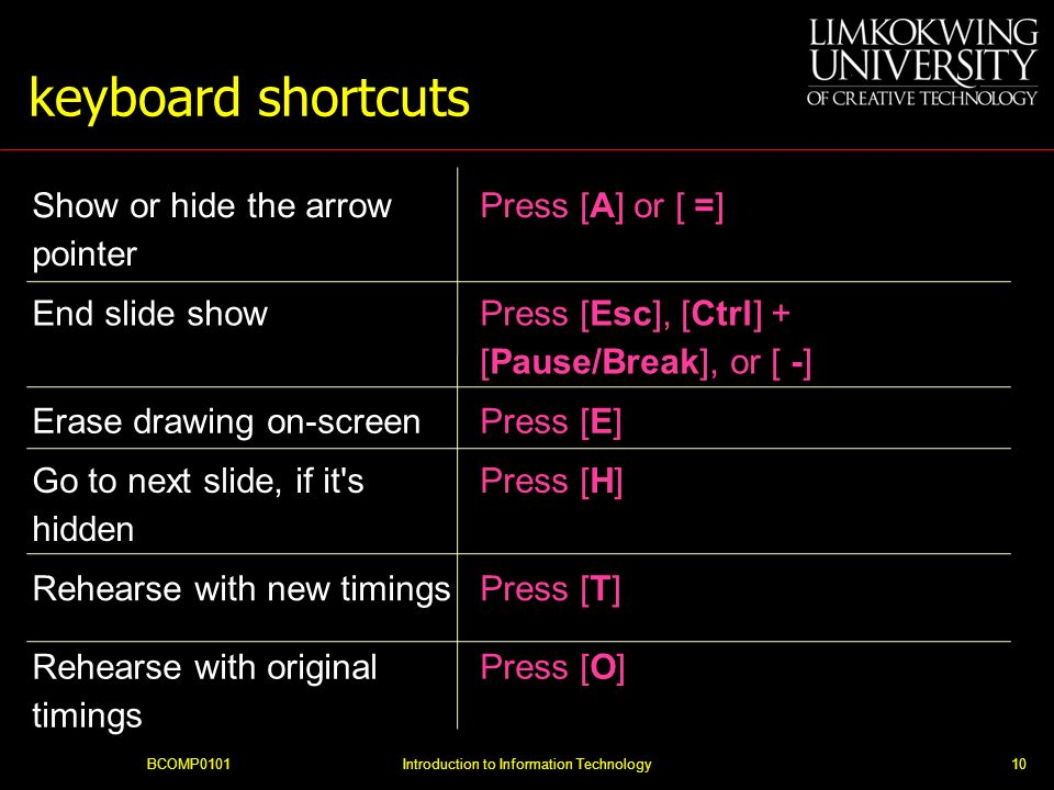 BCOMP0101Introduction to Information Technology10 keyboard shortcuts Show or hide the arrow pointer Press [A] or [ =] End slide show Press [Esc], [Ctr