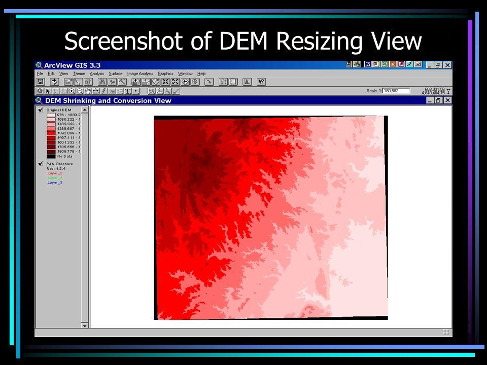 Screenshot of DEM Resizing View