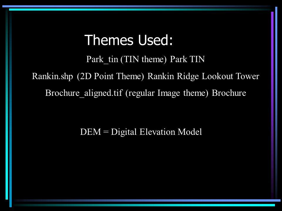 Themes Used: Park_tin (TIN theme) Park TIN Rankin.shp (2D Point Theme) Rankin Ridge Lookout Tower Brochure_aligned.tif (regular Image theme) Brochure DEM = Digital Elevation Model