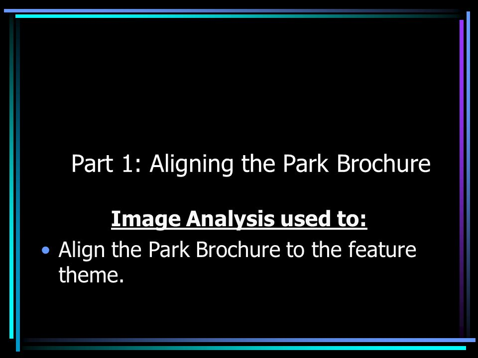 Part 1: Aligning the Park Brochure Image Analysis used to: Align the Park Brochure to the feature theme.