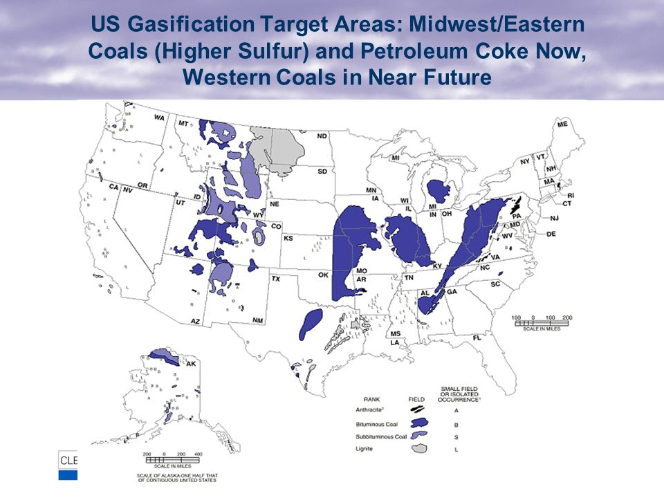 US Gasification Target Areas: Midwest/Eastern Coals (Higher Sulfur) and Petroleum Coke Now, Western Coals in Near Future