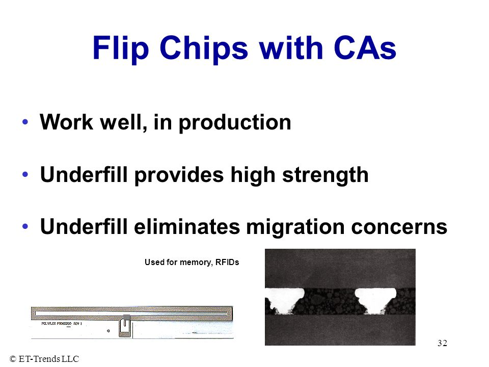 © ET-Trends LLC 32 Flip Chips with CAs Work well, in production Underfill provides high strength Underfill eliminates migration concerns Used for memory, RFIDs