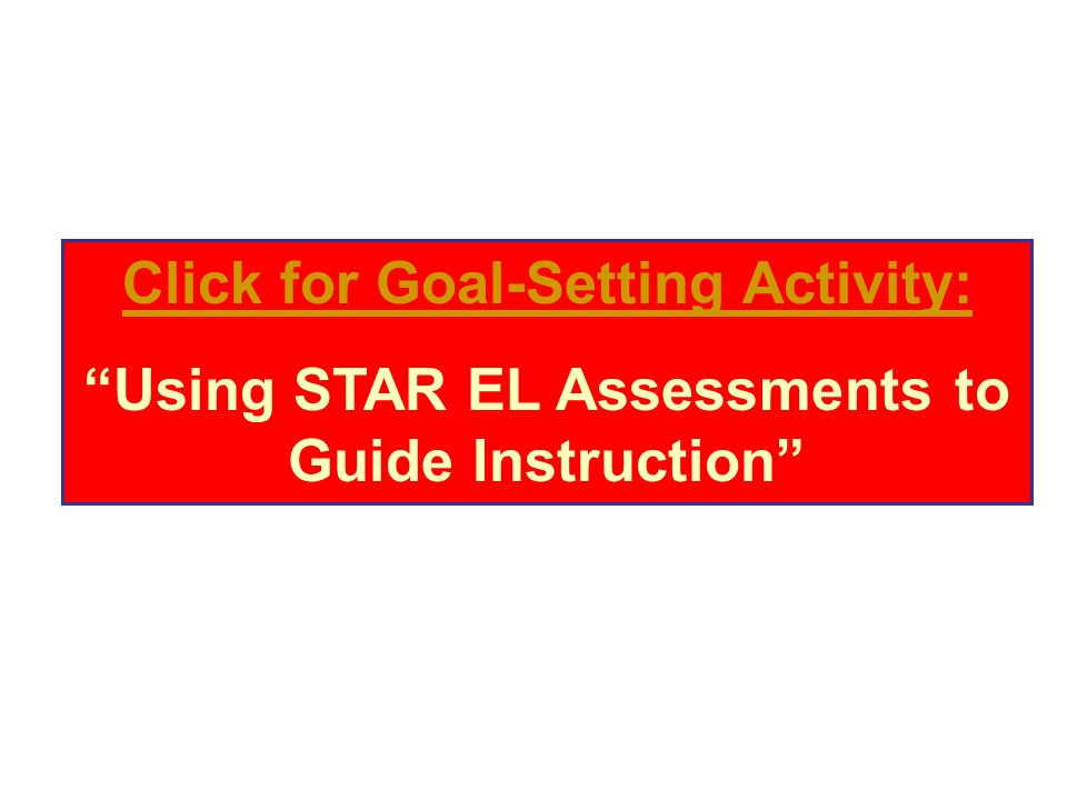 Click for Goal-Setting Activity: Using STAR EL Assessments to Guide Instruction