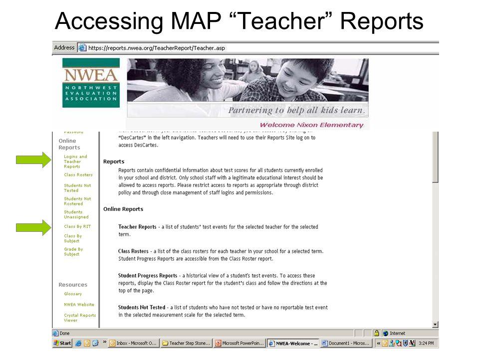 Accessing MAP Teacher Reports