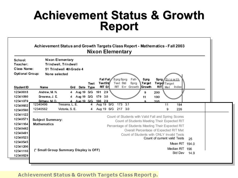 Achievement Status & Growth Report Achievement Status & Growth Targets Class Report p.