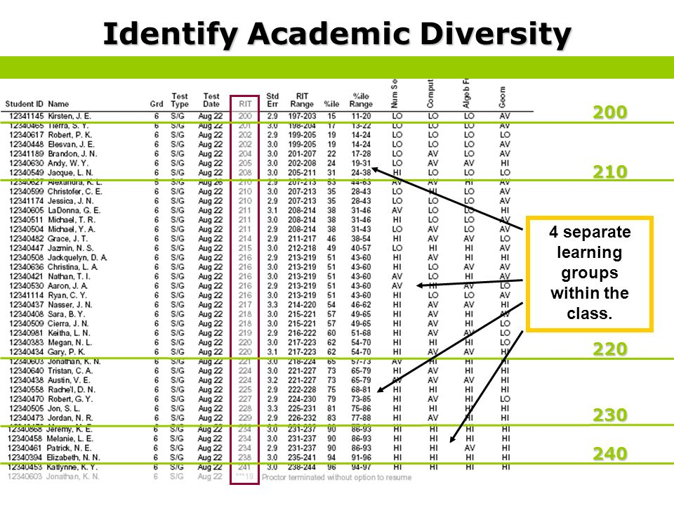 200 210 220 230 240 Identify Academic Diversity 4 separate learning groups within the class.
