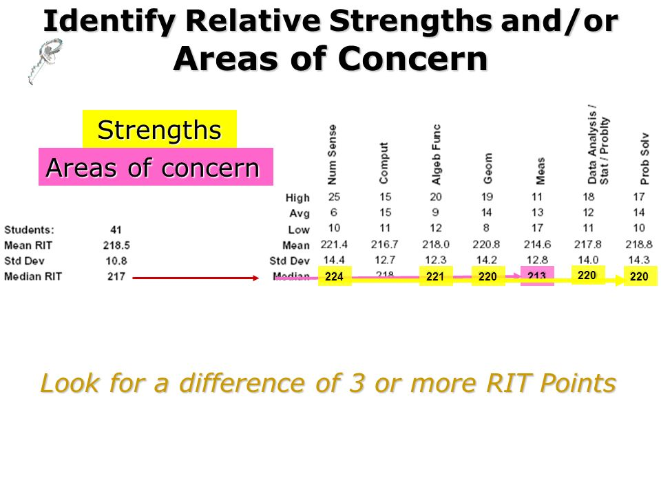 Identify Relative Strengths and/or Areas of Concern 213 Look for a difference of 3 or more RIT Points Strengths Areas of concern 220 221224220