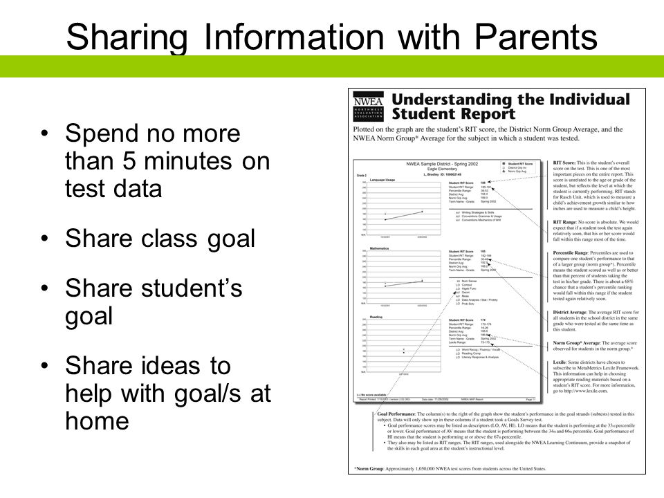 Sharing Information with Parents Spend no more than 5 minutes on test data Share class goal Share students goal Share ideas to help with goal/s at hom