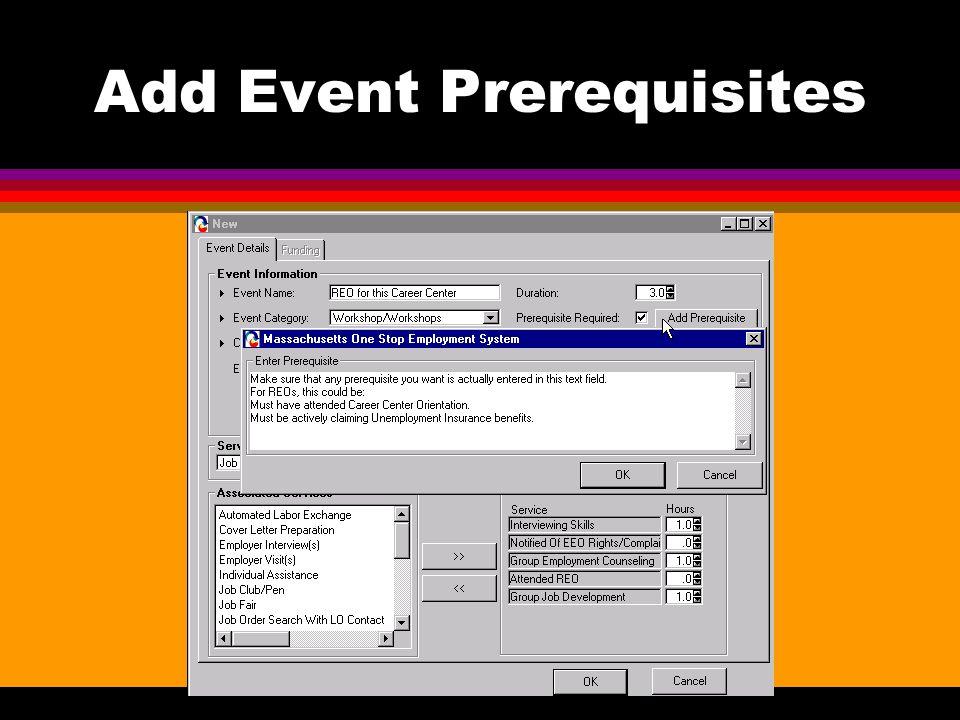 Add Event Prerequisites