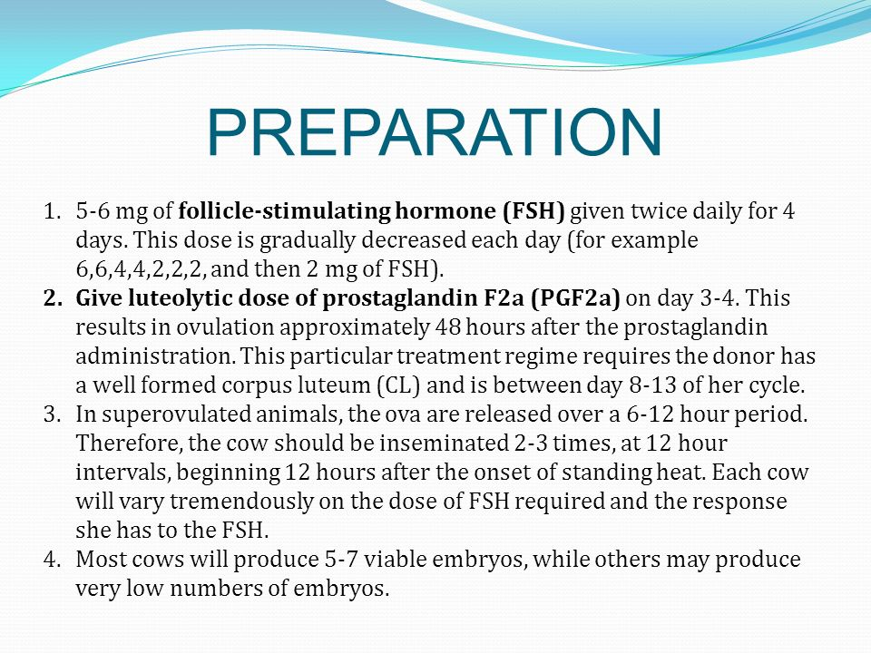 PREPARATION 1.5-6 mg of follicle-stimulating hormone (FSH) given twice daily for 4 days. This dose is gradually decreased each day (for example 6,6,4,