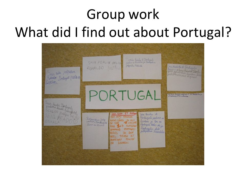 Group work What did I find out about Portugal?