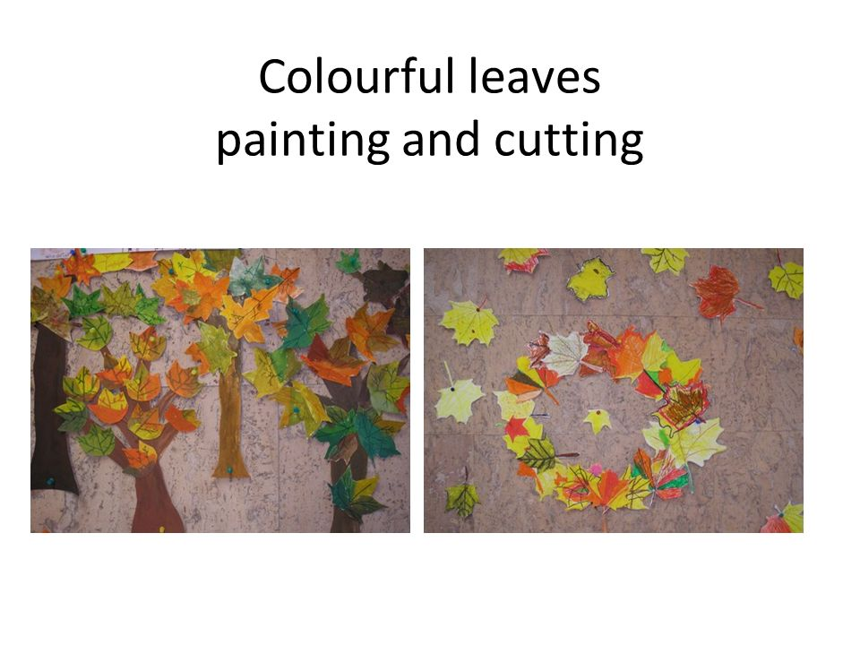 Colourful leaves painting and cutting
