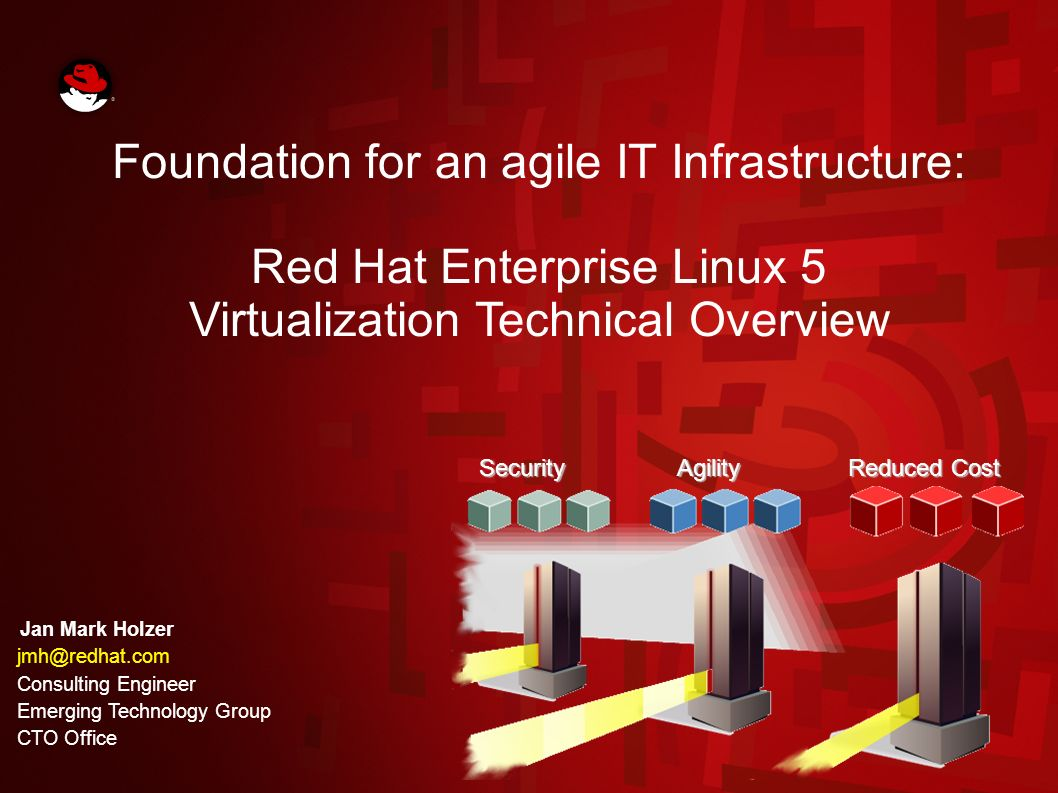 64 HP Technology Forum June 2007 / RHEL5 Tech Overview Product features subject to change prior to availability Highly Available RHEL5 Host RHEL5 Host A Guest RHEL5 Host B Shared Storage Guest running as a RHCS service Guest 1 Guest 2Guest X Automatic failover upon Hypervisor failure