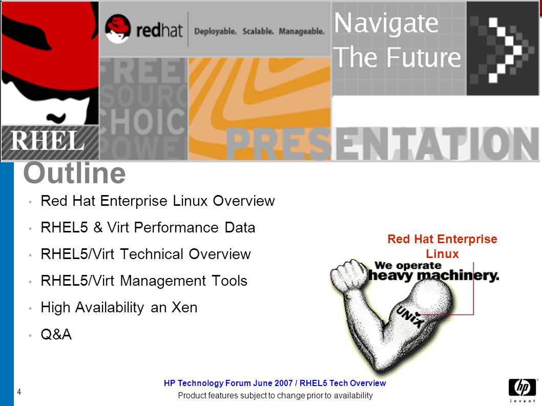 15 HP Technology Forum June 2007 / RHEL5 Tech Overview Product features subject to change prior to availability Red Hat Enterprise Linux 5: Feature Summary Red Hat Enterprise Linux 5 comprises more than 1200 components Over two years of development Technology created by: Red Hat Partners Community