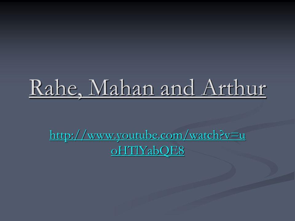 Rahe, Mahan and Arthur http://www.youtube.com/watch?v=u oHTlYabQE8 http://www.youtube.com/watch?v=u oHTlYabQE8