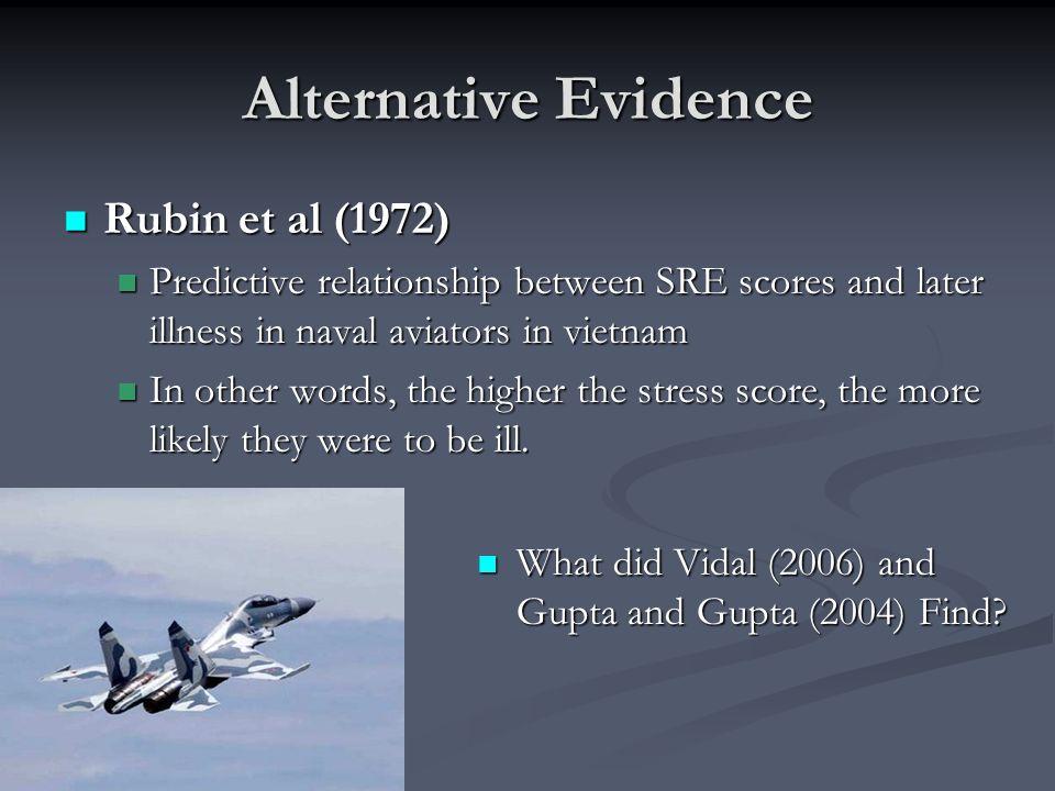 Alternative Evidence Rubin et al (1972) Rubin et al (1972) Predictive relationship between SRE scores and later illness in naval aviators in vietnam P