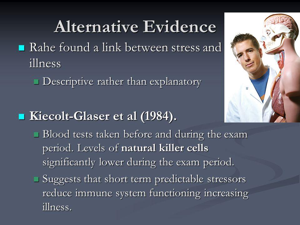 Alternative Evidence Rahe found a link between stress and illness Rahe found a link between stress and illness Descriptive rather than explanatory Des