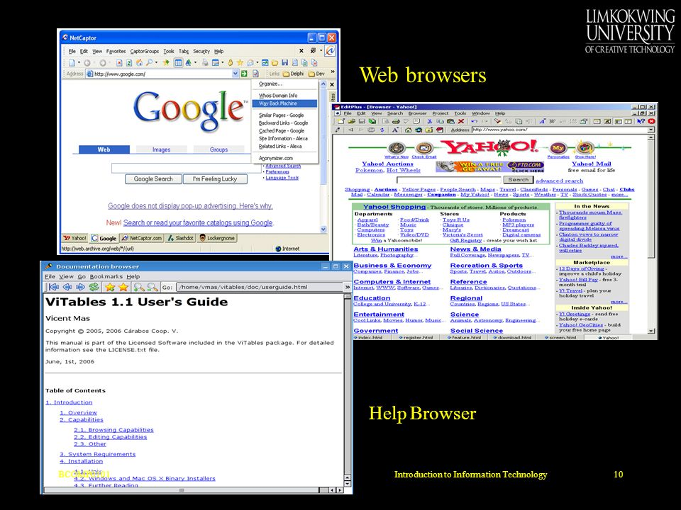 Web browsers Help Browser BCOMP010110Introduction to Information Technology
