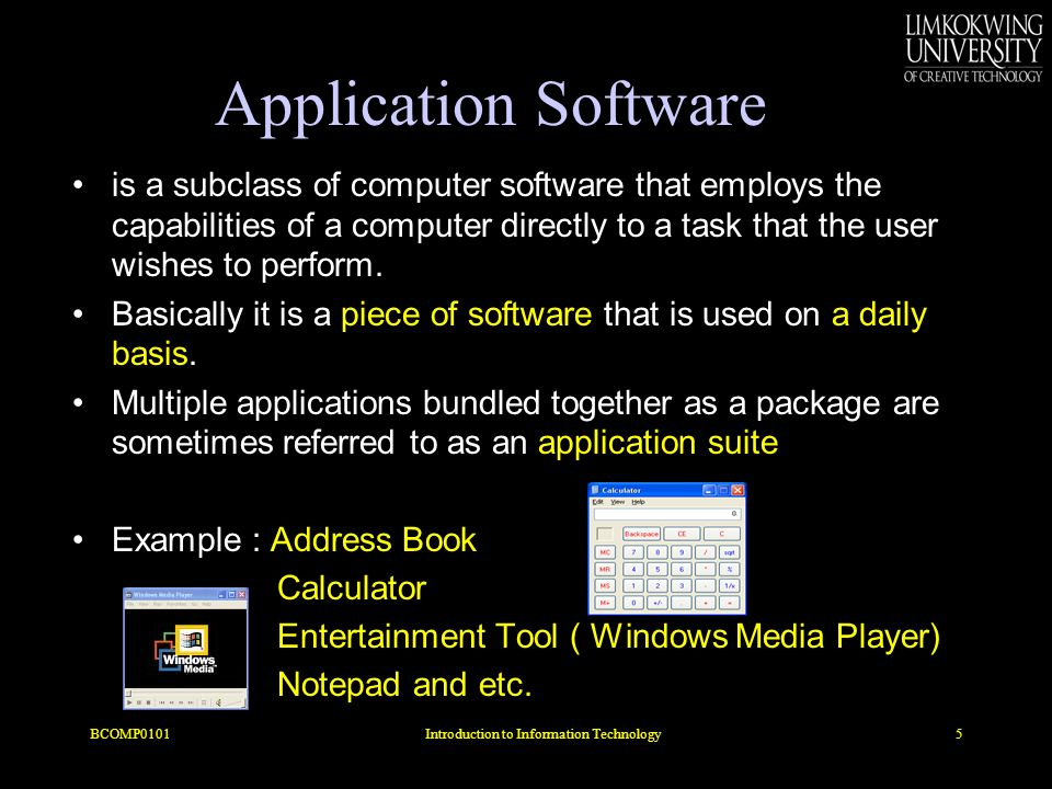 Application Software is a subclass of computer software that employs the capabilities of a computer directly to a task that the user wishes to perform.