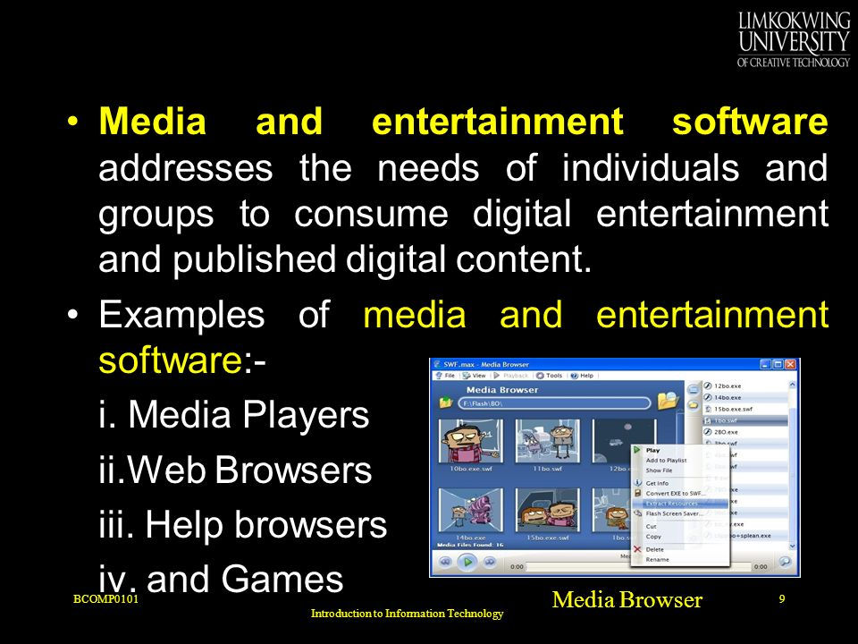 Media and entertainment software addresses the needs of individuals and groups to consume digital entertainment and published digital content.
