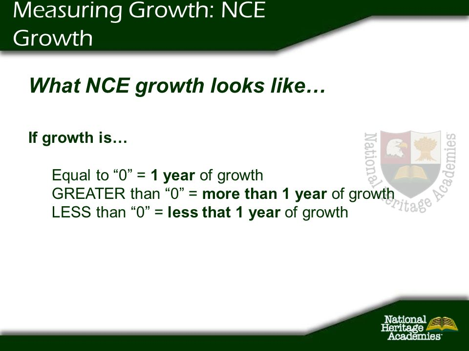 Measuring Growth: NCE Growth What NCE growth looks like… If growth is… Equal to 0 = 1 year of growth GREATER than 0 = more than 1 year of growth LESS