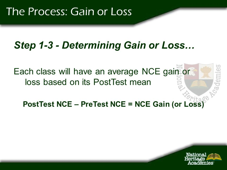 The Process: Gain or Loss Step 1-3 - Determining Gain or Loss… Each class will have an average NCE gain or loss based on its PostTest mean PostTest NC