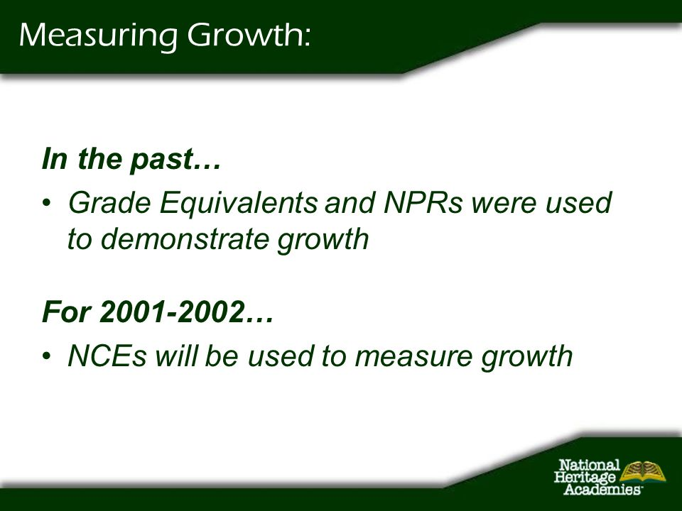 In the past… Grade Equivalents and NPRs were used to demonstrate growth Measuring Growth: For 2001-2002… NCEs will be used to measure growth