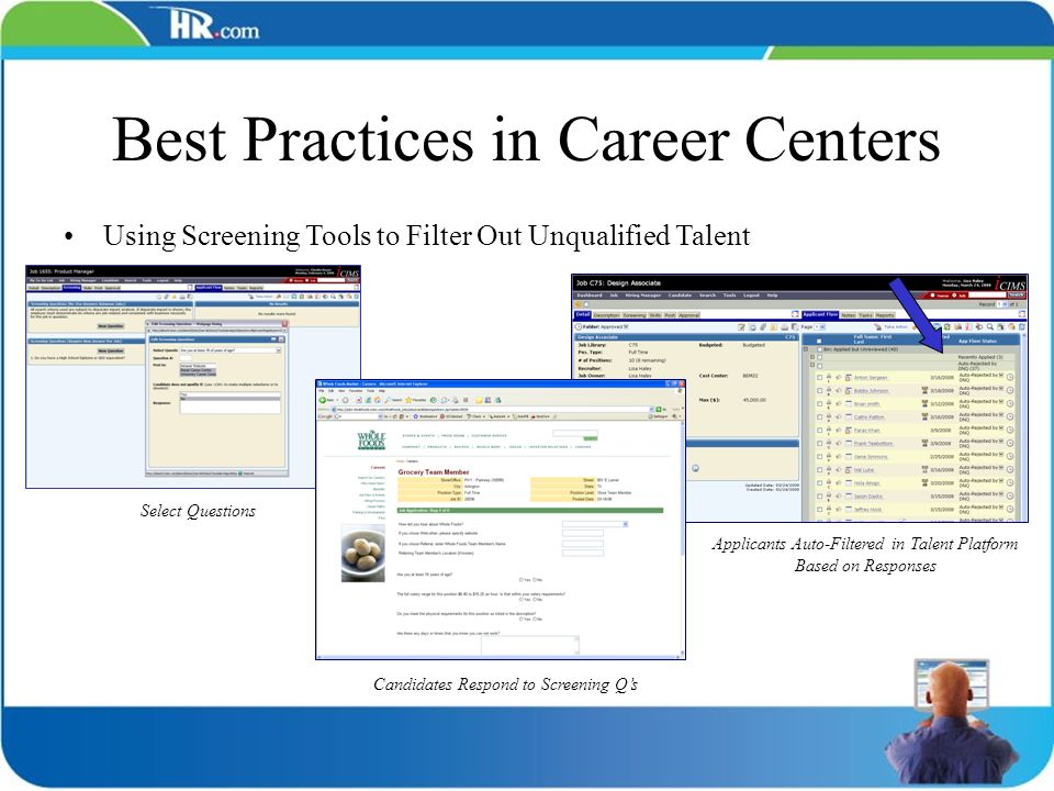 Best Practices in Career Centers Using Screening Tools to Filter Out Unqualified Talent Select Questions Candidates Respond to Screening Qs Applicants
