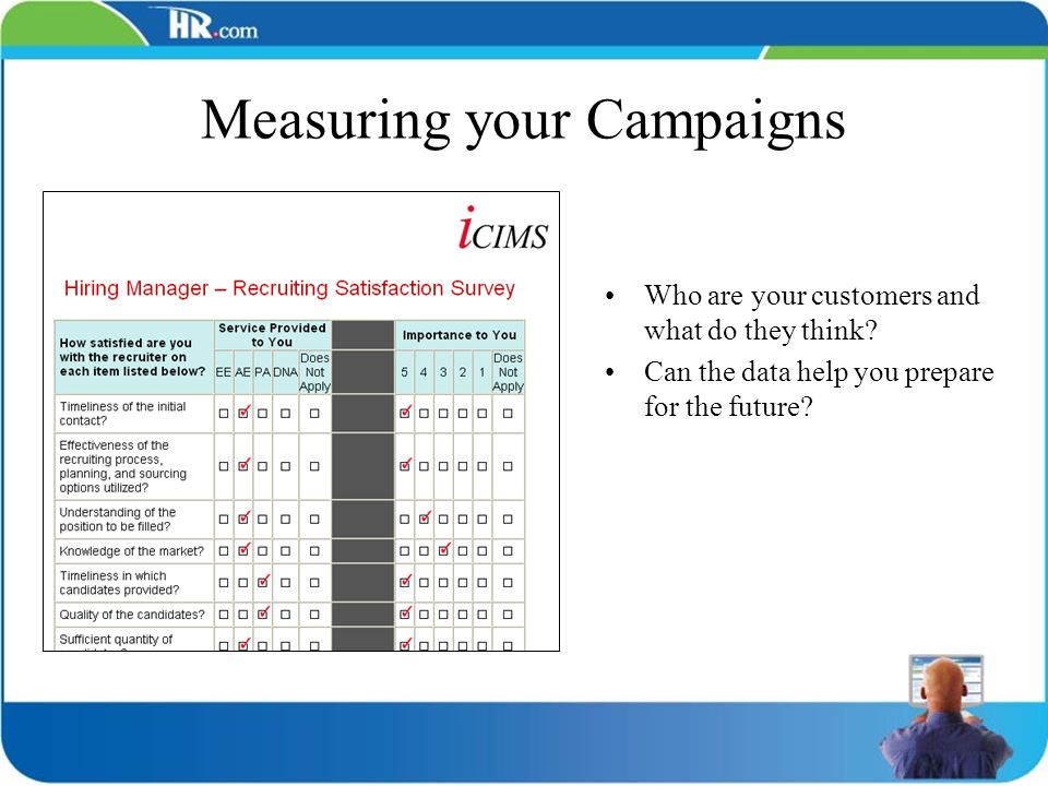 Measuring your Campaigns Who are your customers and what do they think? Can the data help you prepare for the future?