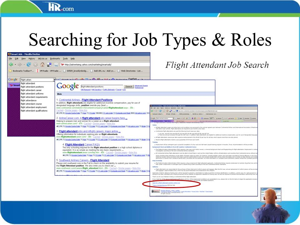 Searching for Job Types & Roles Flight Attendant Job Search How important is page 1.