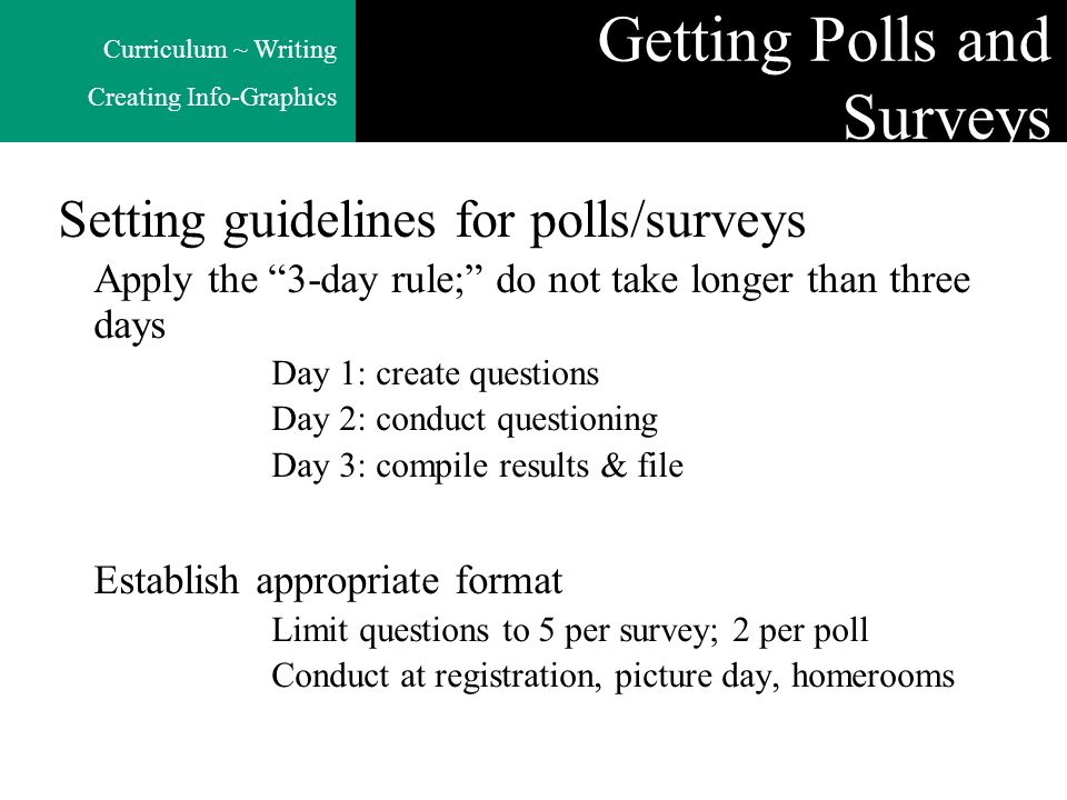 Curriculum ~ Writing Creating Info-Graphics Getting Polls and Surveys Setting guidelines for polls/surveys Apply the 3-day rule; do not take longer th