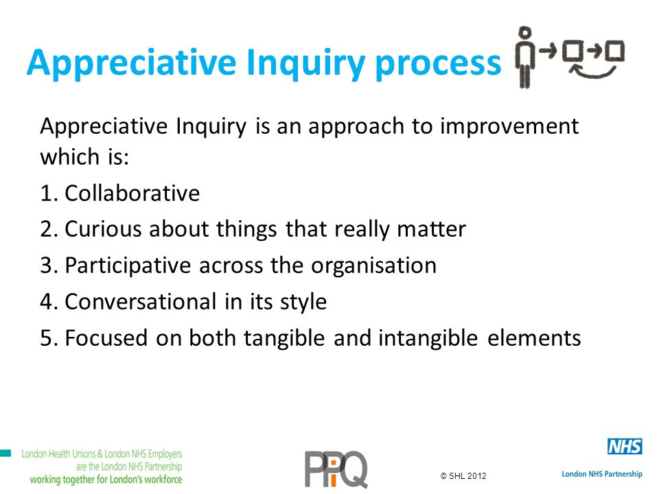© SHL 2012 Appreciative Inquiry process Appreciative Inquiry is an approach to improvement which is: 1.Collaborative 2.Curious about things that really matter 3.Participative across the organisation 4.Conversational in its style 5.Focused on both tangible and intangible elements