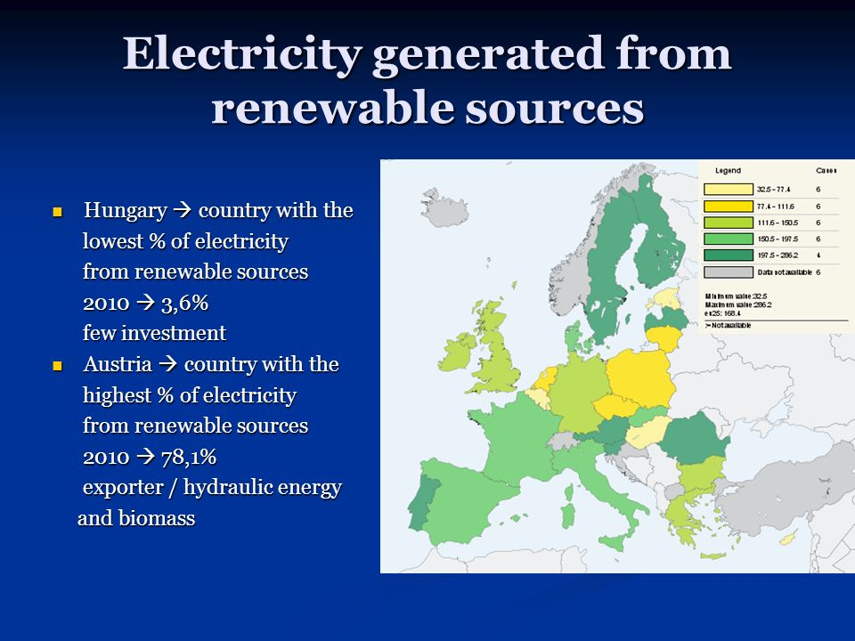 Electricity generated from renewable sources Hungary country with the Hungary country with the lowest % of electricity lowest % of electricity from renewable sources from renewable sources 2010 3,6% 2010 3,6% few investment few investment Austria country with the Austria country with the highest % of electricity highest % of electricity from renewable sources from renewable sources 2010 78,1% 2010 78,1% exporter / hydraulic energy exporter / hydraulic energy and biomass and biomass