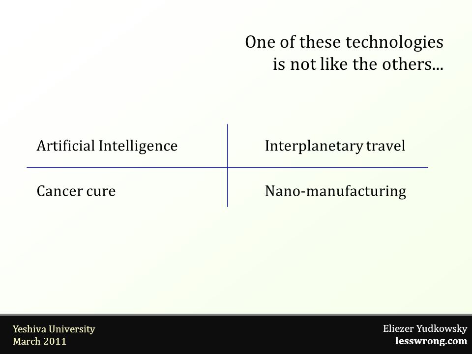 Eliezer Yudkowsky lesswrong.com Yeshiva University March 2011 One of these technologies is not like the others... Artificial Intelligence Cancer cure